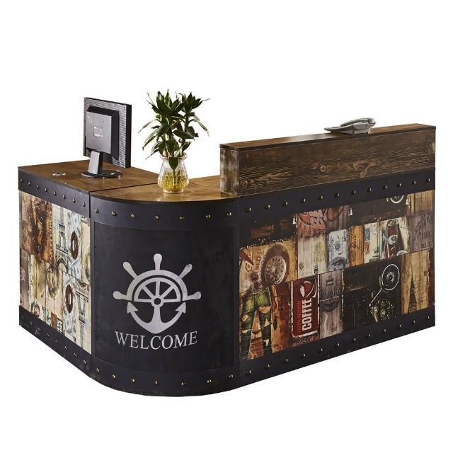 【AT HOME】美式設計5.5尺塗鴉圖騰造型L型多功能工作桌/收銀桌組(魯夫)