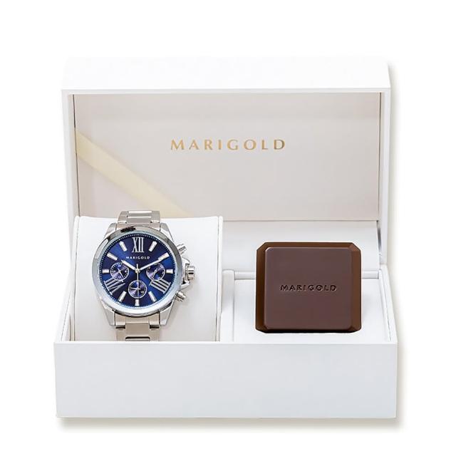 【MARIGOLD 美爾朵】Glorious手錶香膏禮盒(藍面銀框-鍊帶銀 + 二入可替式香膏芯)