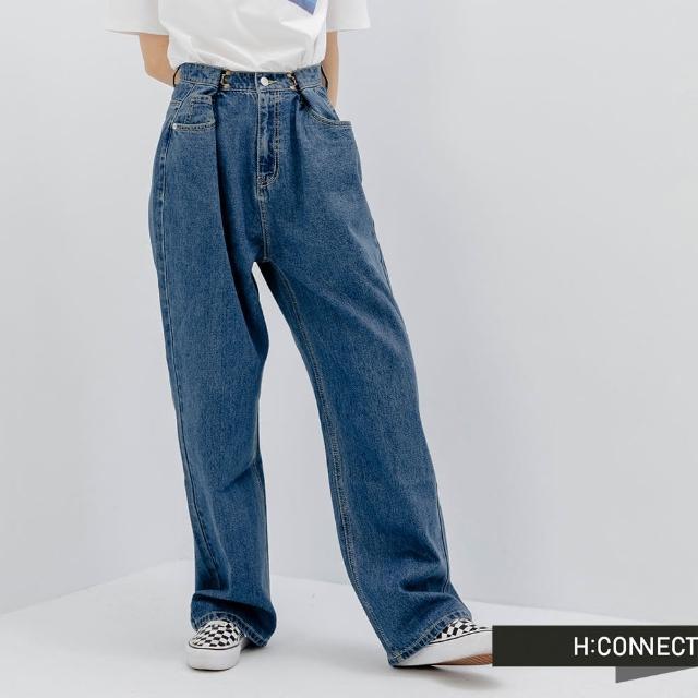 【H:CONNECT】韓國品牌 女裝 -自然水洗寬版及地牛仔褲(藍色)