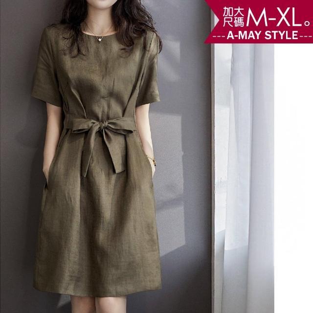 【Amay Style 艾美時尚】加大碼洋裝-質感純色棉麻綁帶連身裙。加大碼S-3XL(橄欖綠.預購)