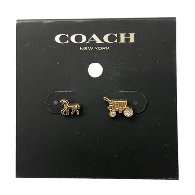 【COACH】不對稱馬車 LOGO仿鑽針式耳環(金色)