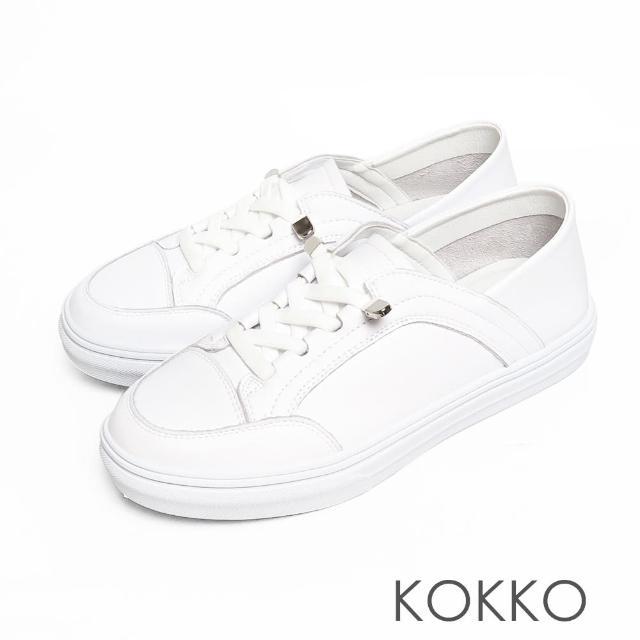 【KOKKO 集團】超舒適免綁帶牛皮後踩懶人厚底休閒鞋(白色)