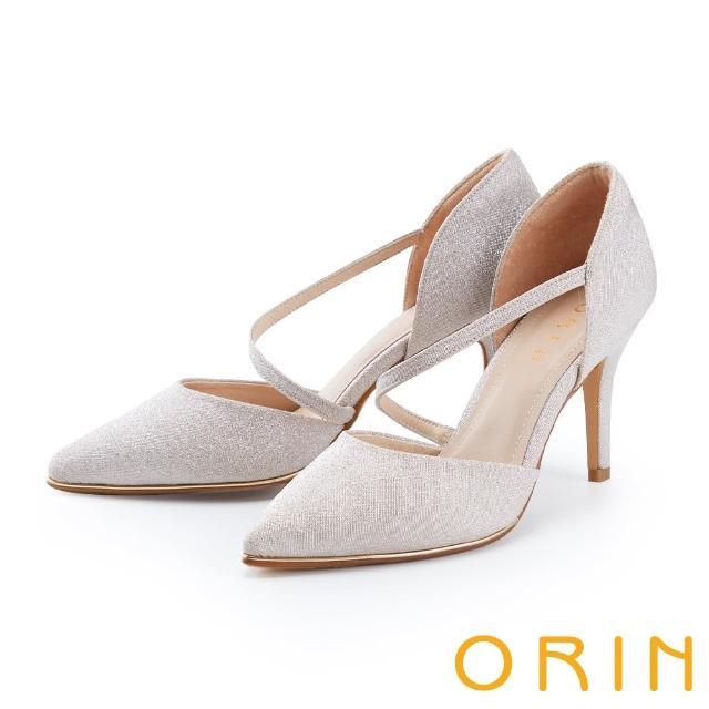 【ORIN】斜帶側空後包尖頭花嫁 女 高跟鞋(粉金)