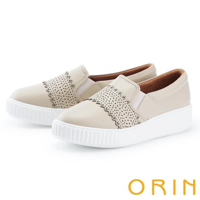【ORIN】鞋頭造型真皮厚底 女 休閒鞋(米色)