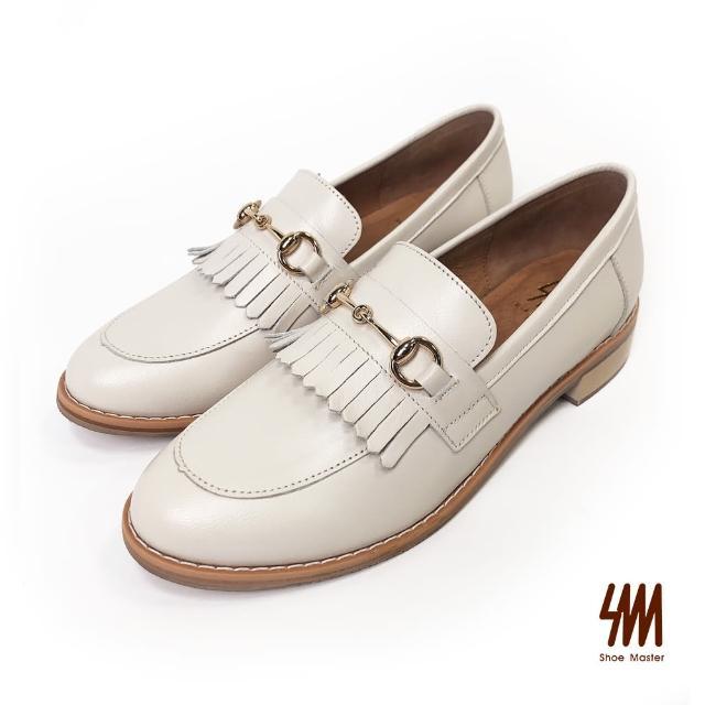 【SM】羊皮率性流蘇馬鞍釦樂福鞋(米白色)
