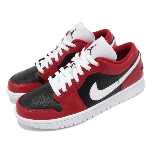 【NIKE 耐吉】休閒鞋 W Air Jordan 1代 女鞋 低筒 芝加哥 喬丹 AJ1 黑 紅(DC0774-603)