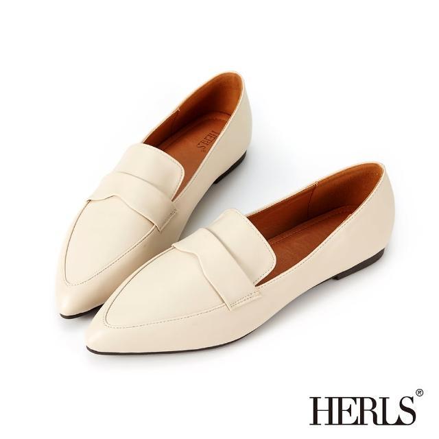 【HERLS】樂福鞋-簡約橫帶造型尖頭平底樂福鞋(米色)