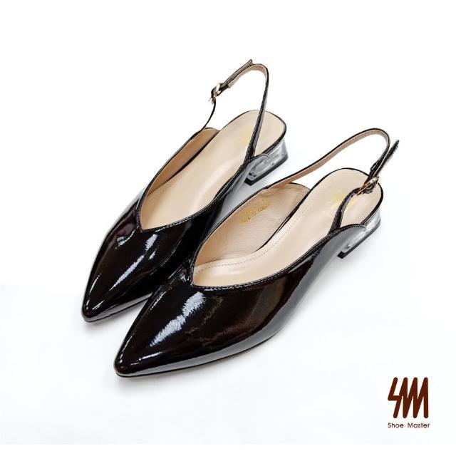 【SM】時尚尖頭後繞帶方跟鞋(黑色)