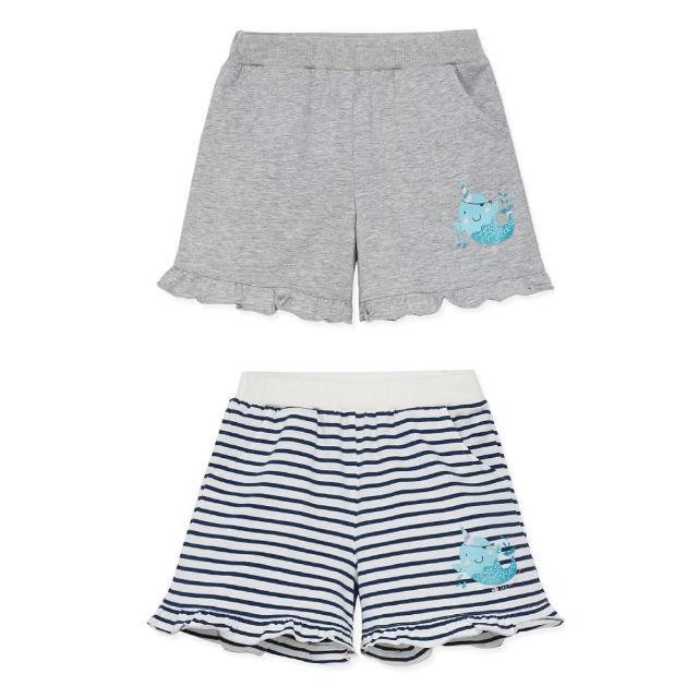【麗嬰房】EASY輕鬆系列 女童海盜樂園口袋短褲(條紋/麻灰 76cm~130cm)
