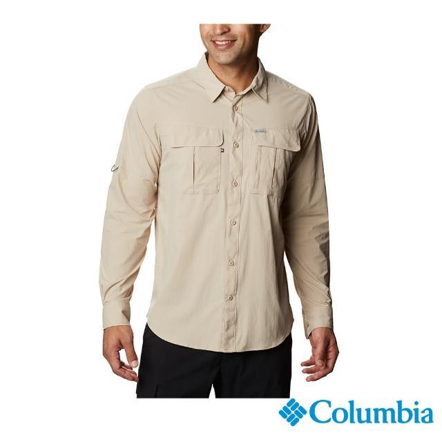 【Columbia 哥倫比亞】男款-UPF40快排長袖襯衫-棕褐(UAE07620TN / 快排.防曬.休閒)