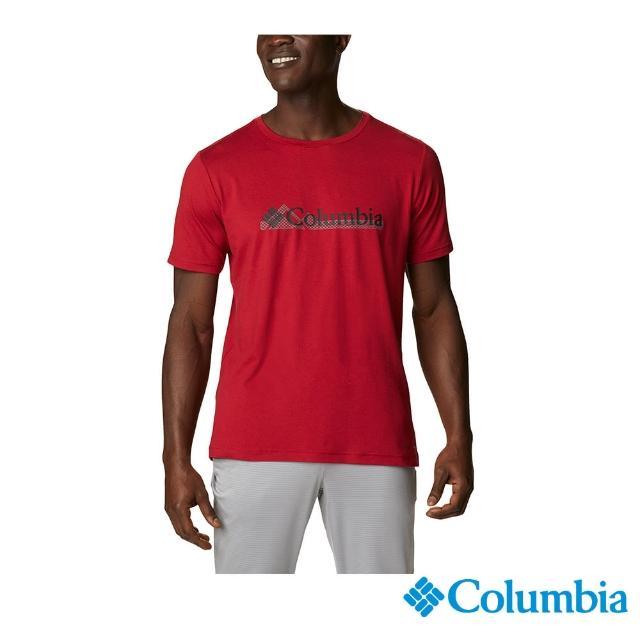 【Columbia 哥倫比亞】男款-UPF50快排短袖上衣-紅色(UAE08010RD / 快排.防曬.休閒)