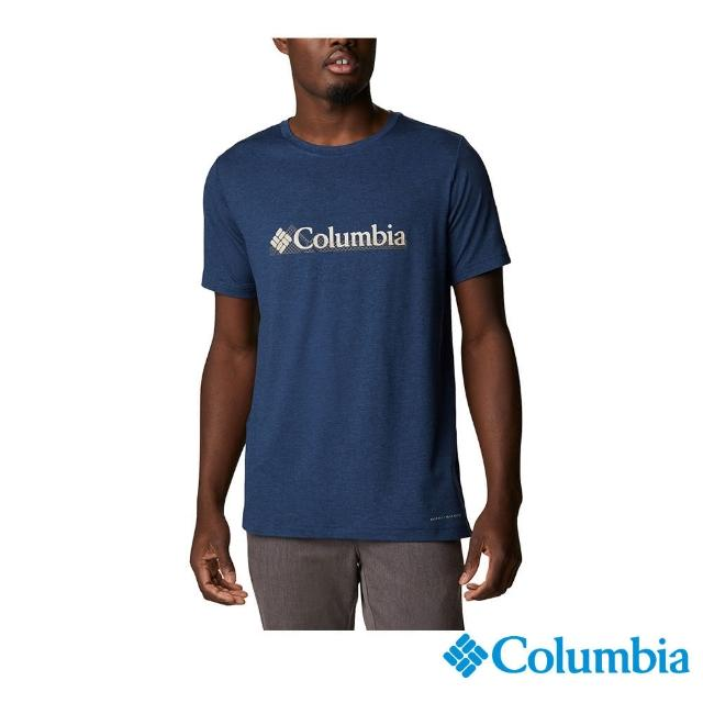 【Columbia 哥倫比亞】男款-UPF50快排短袖上衣-深藍(UAE08010NY / 快排.防曬.休閒)