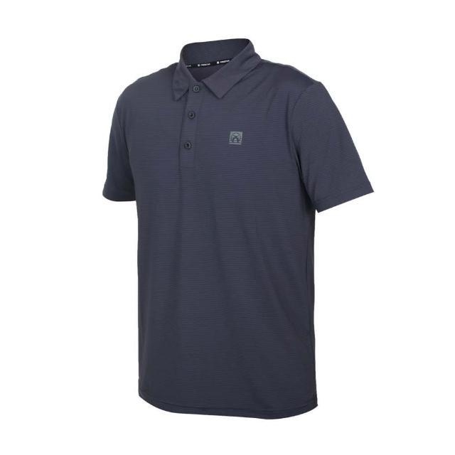 【FIRESTAR】男彈性機能短袖POLO衫-運動 慢跑 路跑 上衣 涼感 高爾夫 反光 深灰(D1751-15)