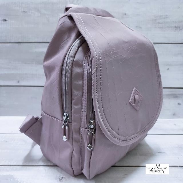 【Misstery】後背包防潑水前蓋片雙肩後背包-紫(進口防潑水面料-樹紋)