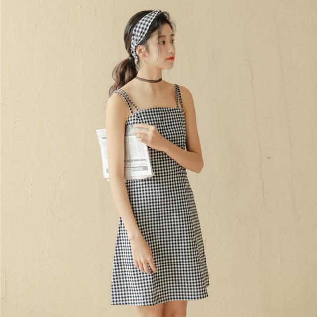 【Pure 衣櫃】復古學院風黑白格子洋裝(休閒/舒適/百搭/KDD-11245)