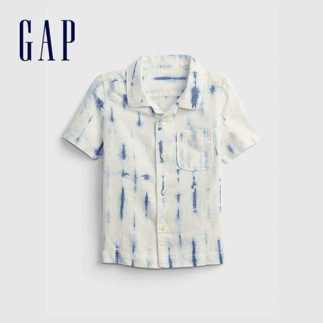 【GAP】男幼童 時尚紮染翻領短袖襯衫(687941-藍色紮染)