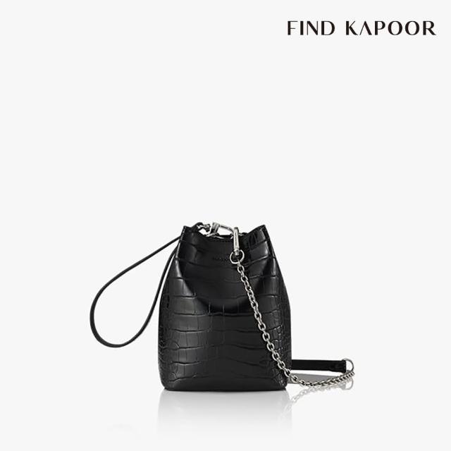 【FIND KAPOOR】MINI PINGO 鱷魚壓紋鍊帶系列 手提斜背水桶包- 黑色