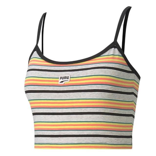 【PUMA】背心 女款 運動背心 慢跑 黃條紋 59966938