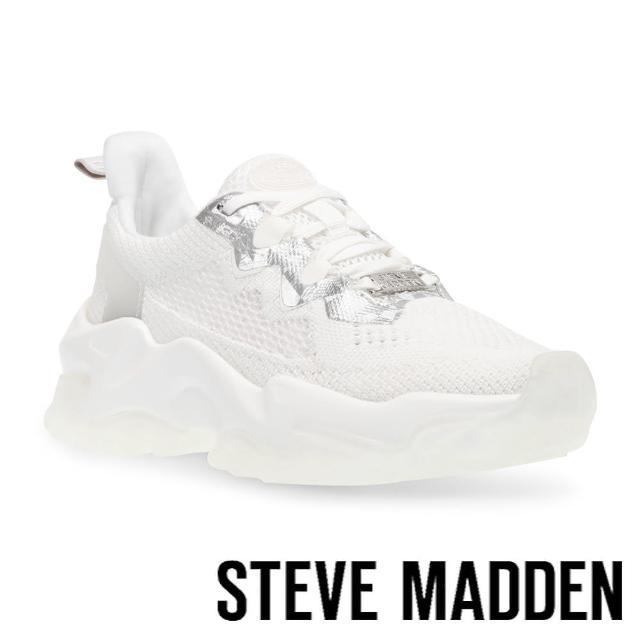 【STEVE MADDEN】POLARIZED 拼接透氣厚底運動休閒鞋(白色)
