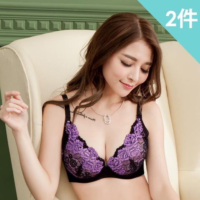 【魔莉莎】玫瑰綻放花樣雙色刺繡蕾絲機能內衣二件組(B305)