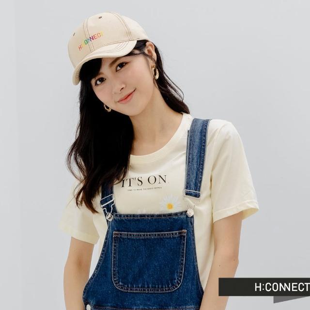 【H:CONNECT】韓國品牌 配飾-彩虹logo字樣棒球帽(米色)