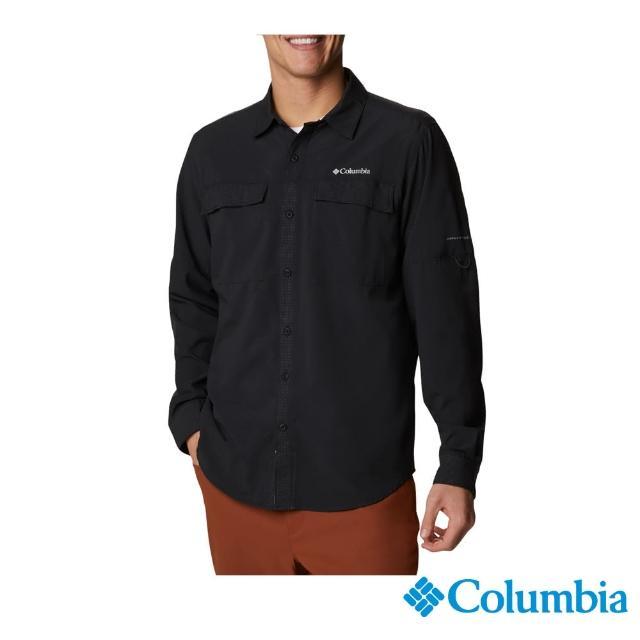 【Columbia 哥倫比亞】男款-涼感快排長袖襯衫-黑色(UAE08030BK / 防潑.防曬.涼感)