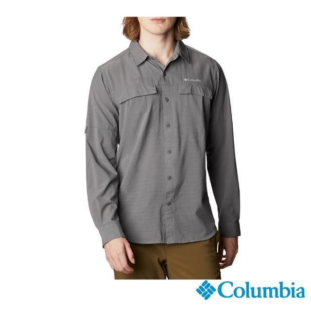【Columbia 哥倫比亞】男款-涼感快排長袖襯衫-深灰(UAE08030DY / 防潑.防曬.涼感)