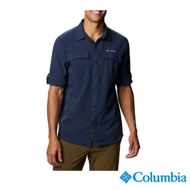 【Columbia 哥倫比亞】男款-涼感快排長袖襯衫-深藍(UAE08030NY / 防潑.防曬.涼感)