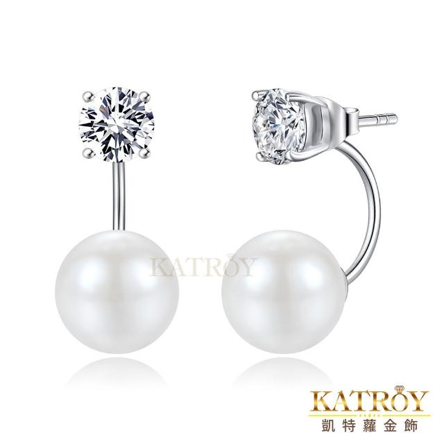 【KATROY】珍珠耳環 10.0 mm 擬真鑽 0.8克拉 純銀耳環 FG6134-1(白色珍珠)