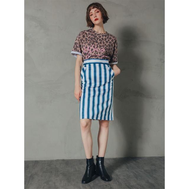 【Who Cares】立式口袋鉛筆裙(藍白條紋)