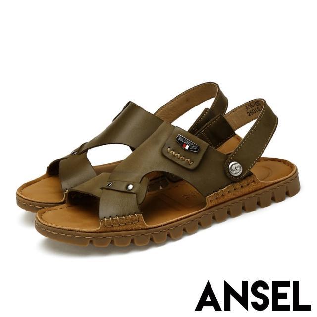 【ANSEL】真皮頭層牛皮復古縫線兩穿法輕量舒適涼拖鞋-男鞋(軍綠)