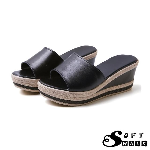 【SOFT WALK 舒步】真皮經典撞色時尚防水台坡跟拖鞋(黑)