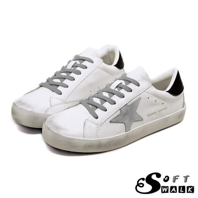 【SOFT WALK 舒步】全真皮百搭做舊擦髒星星拼接時尚休閒小白鞋(米)
