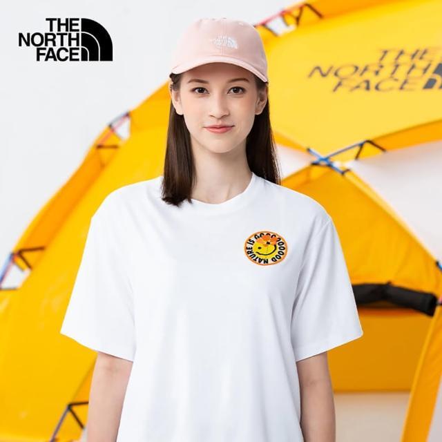 【The North Face】The North Face北面女款白色胸前花朵印花圓領短袖T恤|4UBQFN4