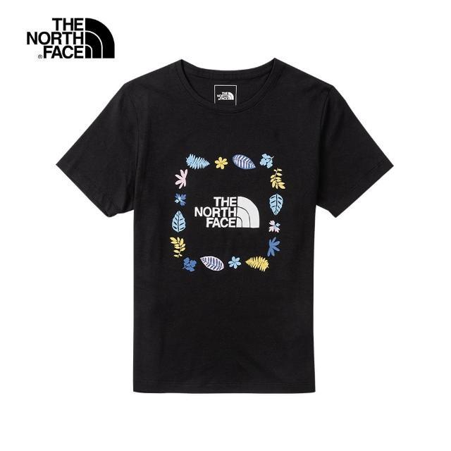 The North Face【The North Face】The North Face北面女款黑色繽紛花草印花圓領短袖T恤 4UBPJK3