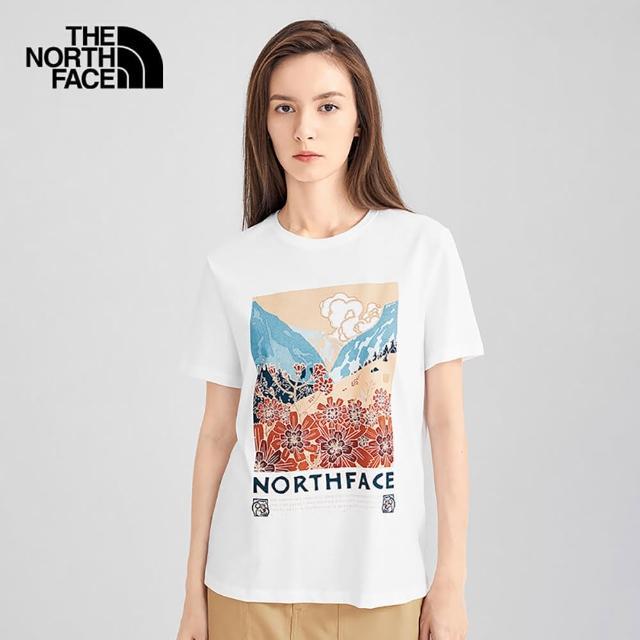 【The North Face】The North Face北面女款白色炫彩風景印花圓領短袖T恤|4UBHFN4