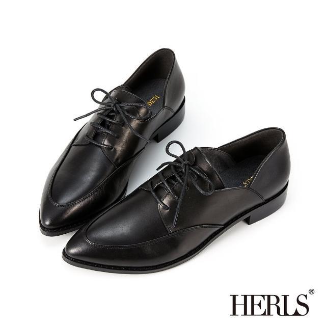 【HERLS】牛津鞋-時髦全真皮側V尖頭德比鞋牛津鞋(黑色)