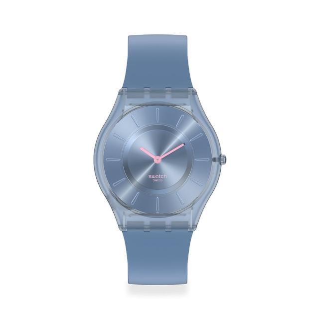 【SWATCH】SKIN超薄系列手錶DENIM BLUE牛仔藍(34mm)