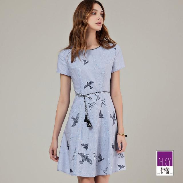 ILEY 伊蕾【ILEY 伊蕾】小鳥刺繡修身洋裝1212077527(淺藍)