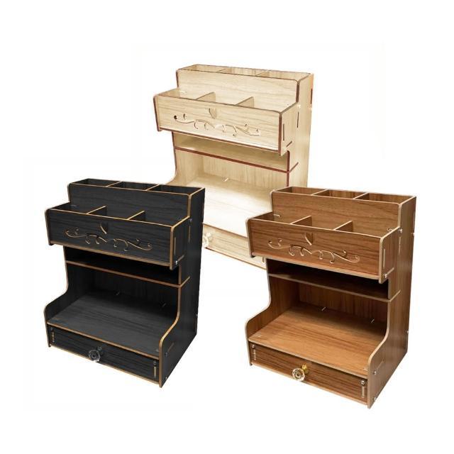 【RoLife 簡約生活】DIY木製桌面收納萬用抽屜置物櫃附贈造型手機架(三色 桌上置物架/文具/保養品)