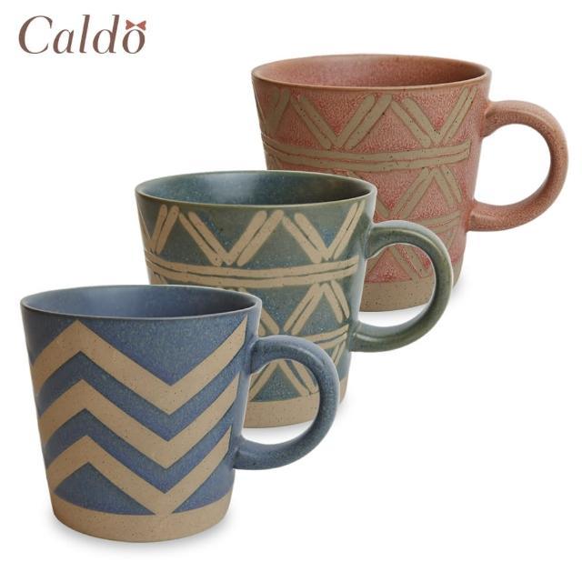 【Caldo 卡朵生活】日式復古圖騰粗陶馬克杯(350ml)