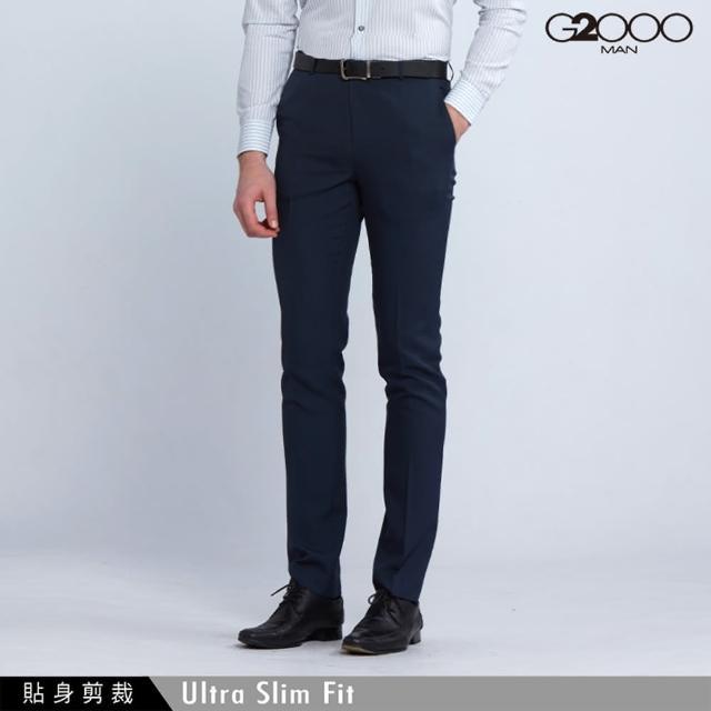 【G2000】時尚斜紋單品西褲-深藍色(0815100678)