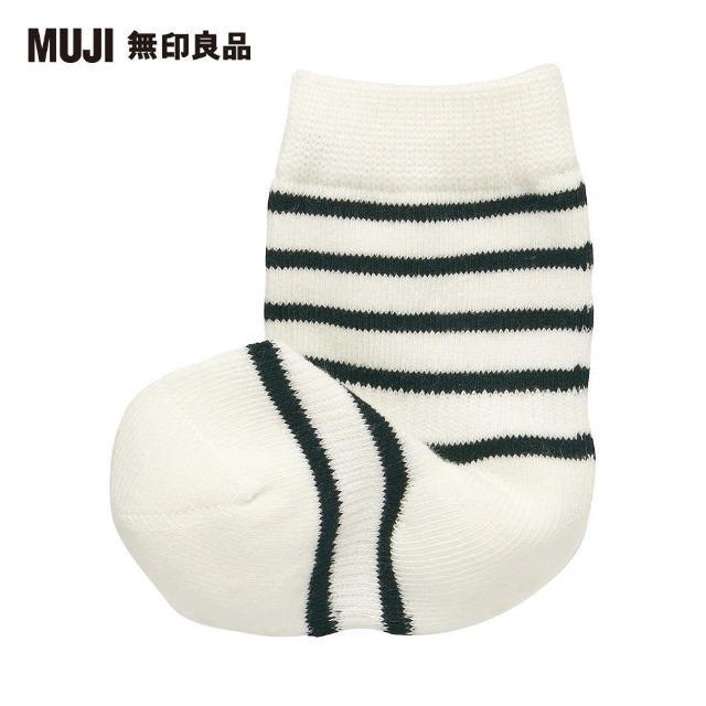 【MUJI 無印良品】幼兒棉混腳跟特殊編織橫紋直角襪(共2色)