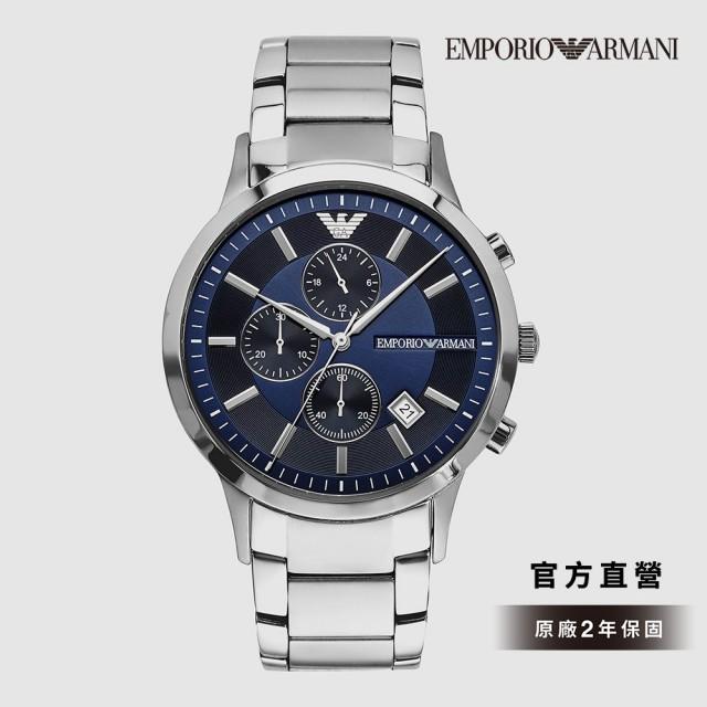 【EMPORIO ARMANI】Renato 雋永時代三眼腕錶 銀色不鏽鋼鍊帶 43MM AR11164