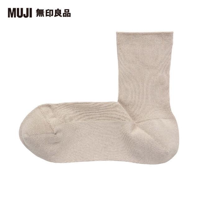 【MUJI 無印良品】女棉混輕薄螺紋直角短襪(淡棕23~25cm)