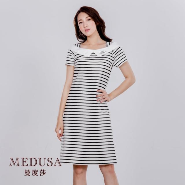 【MEDUSA 曼度莎】假船領水手條紋休閒洋裝(M-2L)(605-32106)