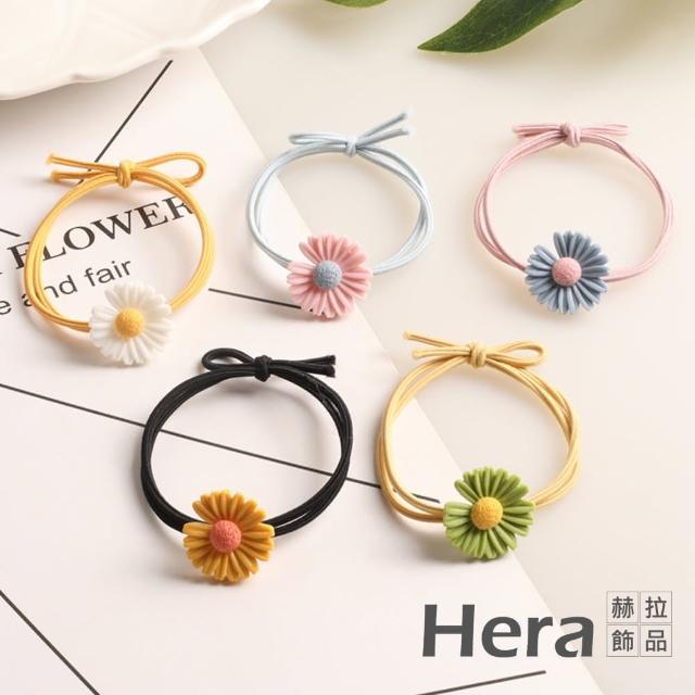 【HERA 赫拉】韓版缺口可愛小雛菊花朵髮圈-隨機色5入組#H100511B(可愛 少女 小清新)