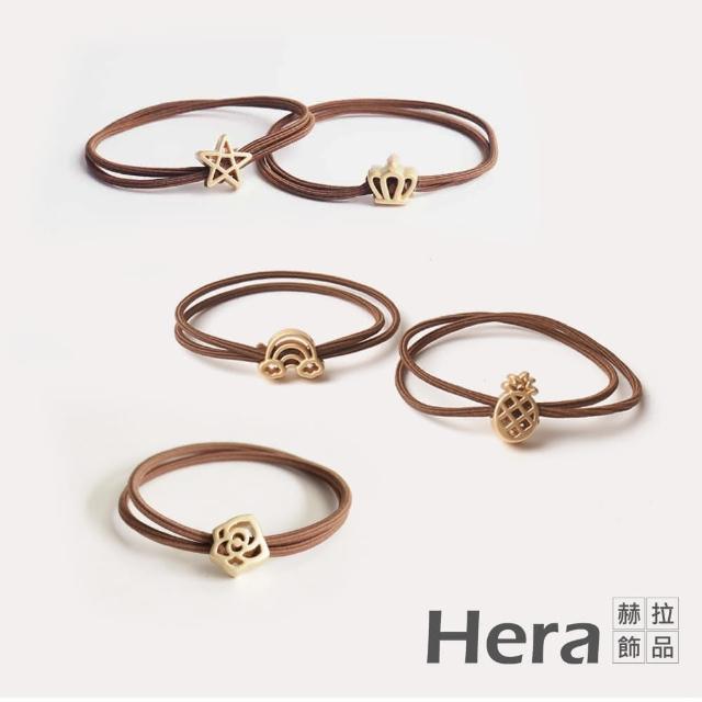 【HERA 赫拉】雙層簡約氣質造型磨砂合金髮圈-隨機款5入組#H100511C(可愛 少女 小清新)