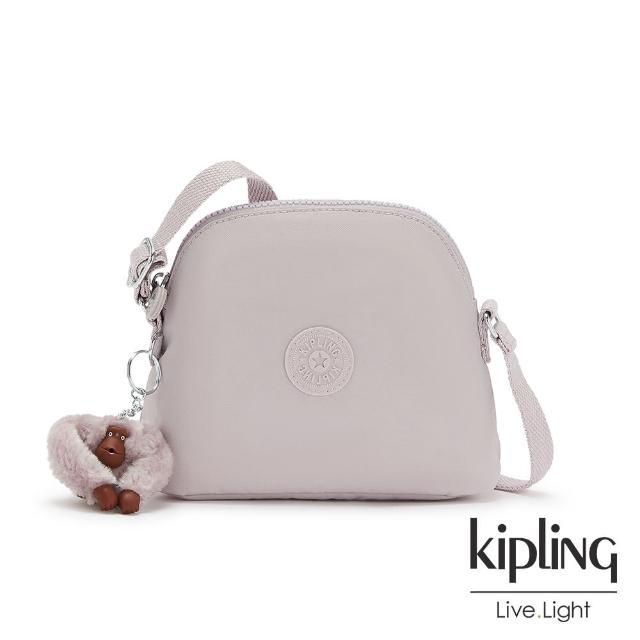 【KIPLING】優雅煙灰粉簡單造型貝殼肩背包-DORY