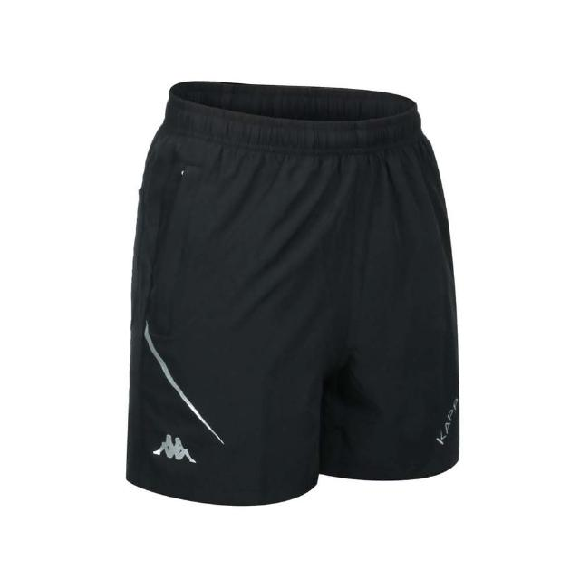 【KAPPA】男K4T單層短褲-三分褲 慢跑 路跑 平織 運動 黑銀(32166WW-005)